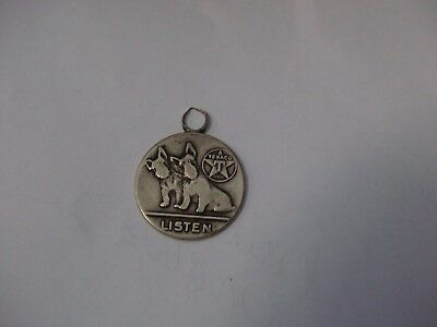 Vintage 1930s Texaco Scotties Scotty Dog Listen Fob Charm Pendant