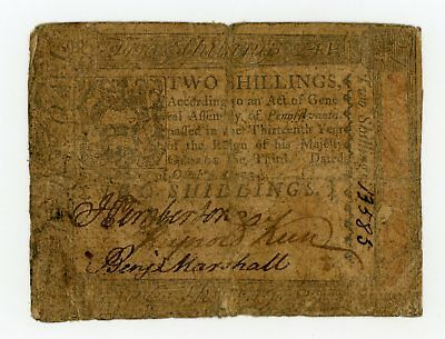 (PA-164) October 1st, 1773 2 Shillings PENNSYLVANIA Colonial Currency Note