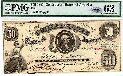 T-8 PF-10 $50 Confederate Paper Money 1861 - PMG Choice Uncirculated 63 - PLUS!