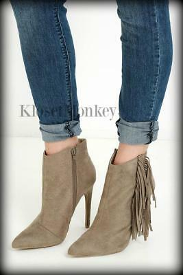 Sexy Tan Ankle Faux Suede Fringe Zipper Stilleto High Heels Booties Boots 8