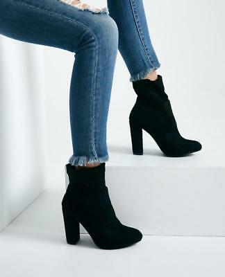 Sexy Black Faux Suede High Ankle Chunky Heel Booties Boots Shoes Size 9 Biker