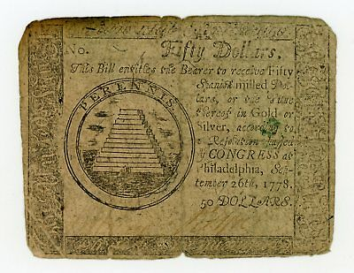 (CC-85) September 26th, 1778 $50 Continental Currency Note