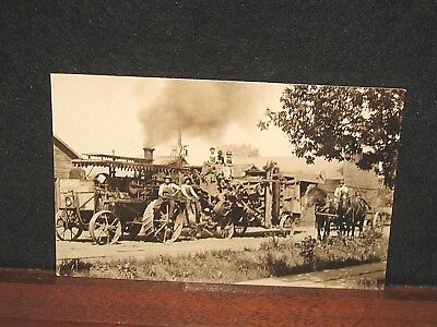 Antique Steam Engine Tractor The New Pulling Threshing Machine Real Photo PC