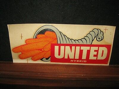 Vintage Old United Hybrid Seed Corn Decal Sticker Farm Advertising