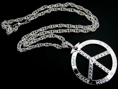 Large SILVER Plated Hippy PEACE Sign Medallion 72cm Necklace Fancy Dress Party