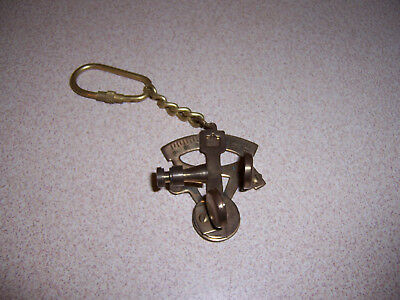 Vintage Nautical Brass Sextant Keychain w/ Patina