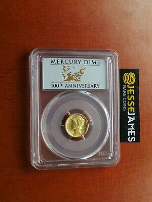2016 W Mercury Dime Gold Pcgs  Sp70 Centennial Coin First Strike 100Th Ann Label