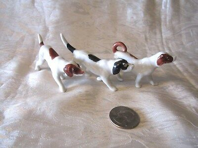 "3 Vintage 3 1/4"" Long 2"" Japan Porcelain  Ceramic Dog Pointer Shorthair"