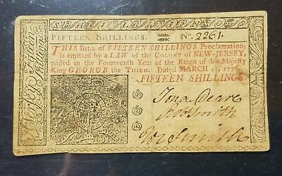 March 25, 1776 New Jersey 15 Shilling #2261