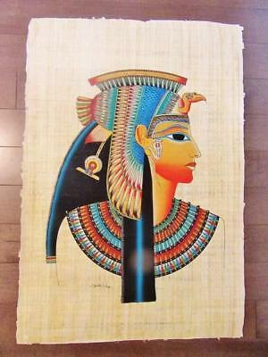 "XXL Huge Signed Handmade Papyrus Egyptian Queen Cleopatra Art Painting_38"" x 26"""