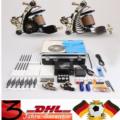 Profi Tattoo machine Tattoomaschine set 2 Tattoo Maschine Kit 7 Farben Tattoo DE