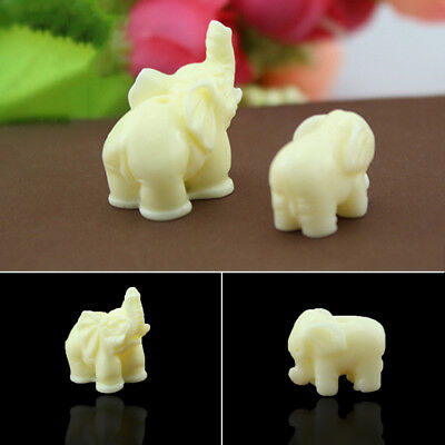 Hand Carved Lucky Ivory White Coral Elephant Buddha Bracelet Jewelry Decor DIY