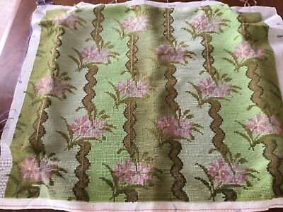 Vintage tapestry hand stitched chair seat/cushion cover front - soft greens