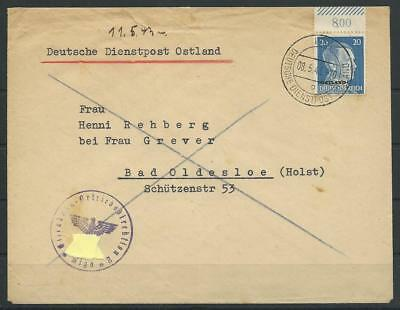 Deutsche Dienstpost Ostland Brief Riga - Bad Oldesloe, 1943 (58949