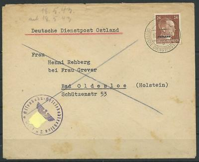 Deutsche Dienstpost Ostland Brief Riga - Bad Oldesloe, 1943 (58951