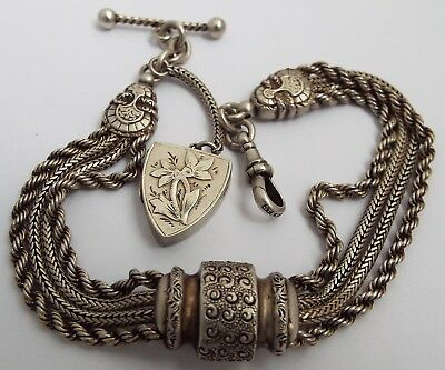 Fabulous English Antique Victorian 1890 Solid Sterling Silver Albertina Chain