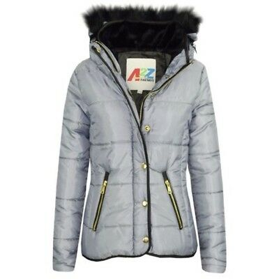49ca62150 Girls Jacket Kids Silver Padded Puffer Bubble Faux Fur Collar Quilted Warm  Coats