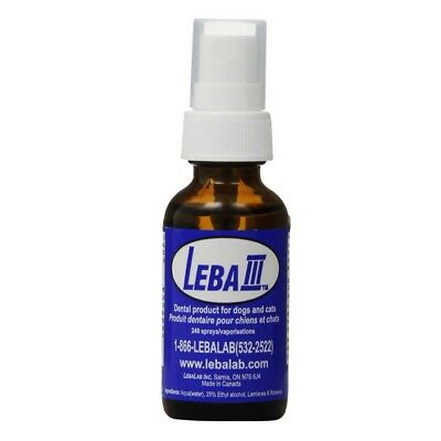 Lebalab Leba III (3) 1oz Dental Spray Pet Canine Feline Dog Cat Tartar Control
