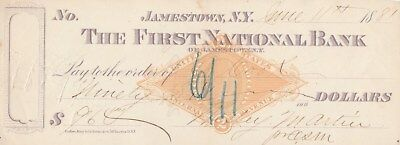 1881, Jamestown,new York    Bank Check With Revenue