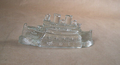 Antique Candy Container  Ship with Ocean Waves Base