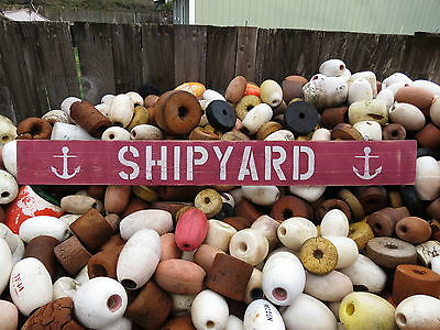48 Inch Wood Hand Painted Shipyard & Anchor Sign Nautical Seafood (#S506)