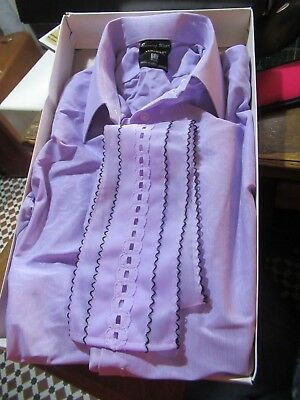 "Tootal Vintage Bri Nylon Evening Shirt 15.5"" Collar - Northern Soul Mod, Lilac."
