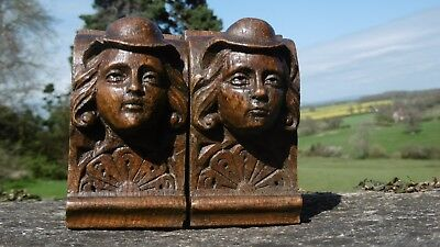 SUPERB Pr 19thc BLACK FOREST OAK CARVED CORBELS OF MALE HEADS WITH HATS