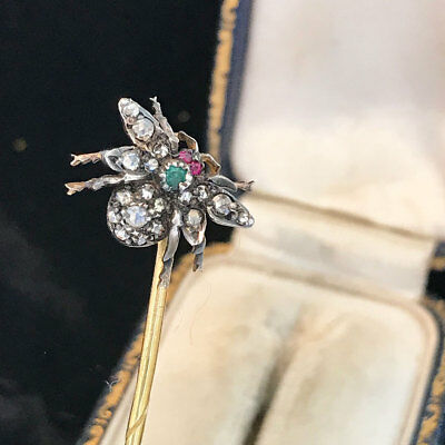 Victorian 18ct, 18k, 750 Gold Diamond, Emerald & Ruby insect, fly,bug, stick pin