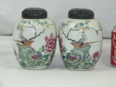 Fine Pair 19Th C Chinese Qianlong Marks Famille Rose Birds Jars & Wooden Lids