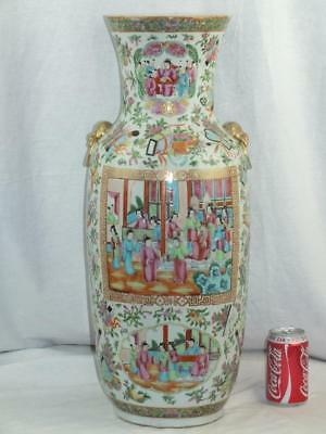 """Very Large 24"""" 19Th C Chinese Porcelain Canton Famille Rose White Ground Vase"""