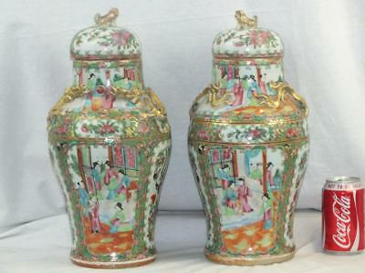 Good Pair 19Th C Chinese Porcelain Canton Famille Rose Vases And Covers