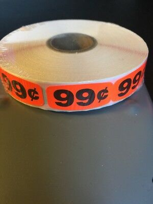 """99 Cent Price 1.5"""" X .625 LABELS 1000 PER ROLL GREAT STICKERS"""
