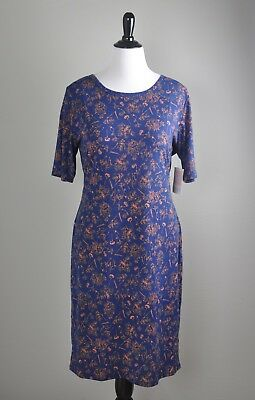 LULAROE NWT Julia Antique Blue Pale Pink Floral Tee Pencil Dress Size 3XL