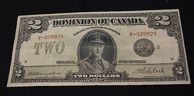 1923 $2 Bank note Dominion Of Canada Campbell Clark  DC-26i Serie 3 Black Seal