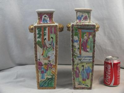 Two 19Th C Chinese Porcelain Canton Famille Rose White Ground Square Vases