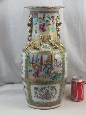 """Good Large 18"""" 19Th C Chinese Porcelain Canton Famille Rose Horse Figures Vase"""