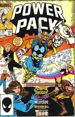 Power Pack Comic Book #19 Wolverine and Beta Ray Bill, Marvel 1986 VERY FINE+