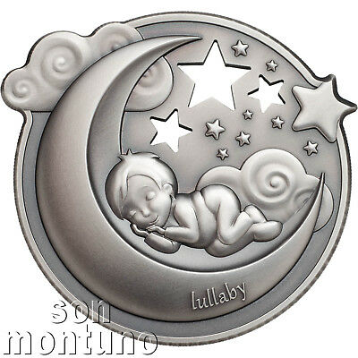 LULLABY Dreaming Boy - 1 oz Antique Finish Silver Coin - 2018 Cook Islands $5