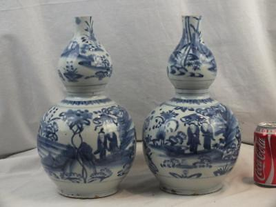 Pair 16Th / 17Th C Chinese Ming Wanli Porcelain Blue White Double Gourd Vases