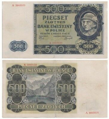 5oo Zlots Polish banknote issued in 01.03.1940 A ff