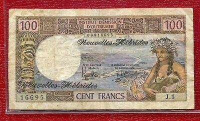 New Hebrides ~ Nd(1975) ~ 100 Francs Banknote ~ Circulated ~ Signature 2