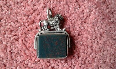 Antique 1894 Silver Carnelian stone watch chain fob