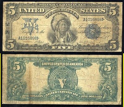 1899 $5.00 Silver Certificate- Chief Onepapa- Scarce- No Reserve