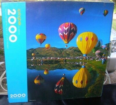 Springbok Flying Colors Jigsaw Puzzle 2000 Pc 1991 Hot Air Balloons New Sealed