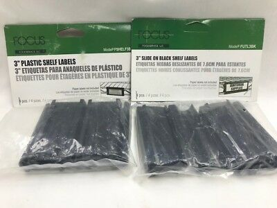 "Plastic Shelf Labels 3"" long 8 total - 2 packages of 4 - Black - Focus FSHELF3B"