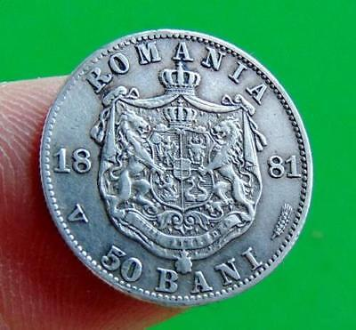 INSCRIBED  SILVER  EF  1881  50  BANI  from  ROMANIA  .....LUCIDO_8  COINS