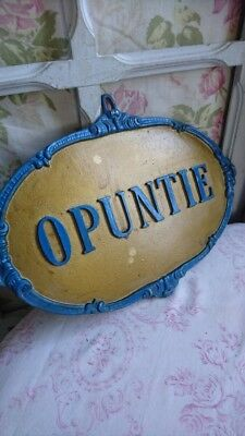 SUPERB ANTIQUE FRENCH SCROLLED METAL PLAQUE c1900 OPUNTIE