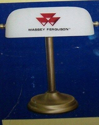 Massey Furguson Glass Shade Antique Brass Base Banker Touch Lamp New In Box Sale
