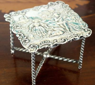 Fine Antique Dutch Small / Miniature Solid Silver Table With Embossed Scene Top