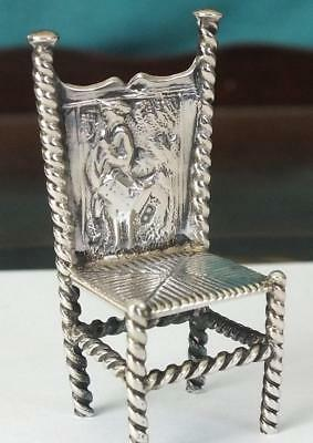 Fine Dutch Antique Small / Miniature Solid Silver Chair - Embossed Scene Back